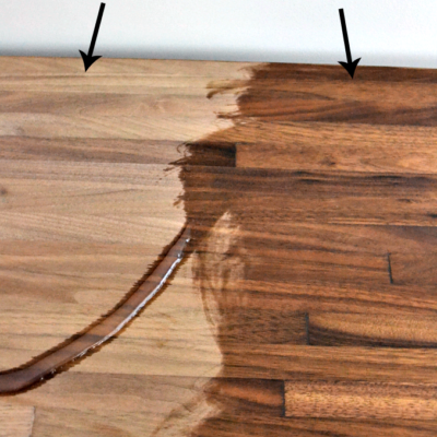 comparison between the butcher block WITH oil and without (much lighter without)