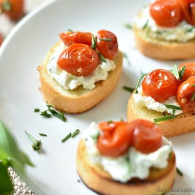 herbed goat cheese crostini with roasted tomatoes