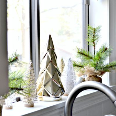 dont forget to decorate the kitchen window for christmas - gold and white neutral theme