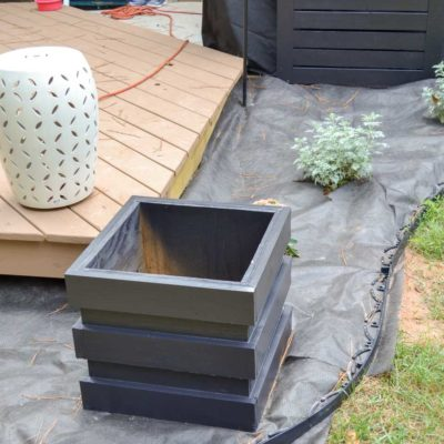 landscaping and new planters around deck