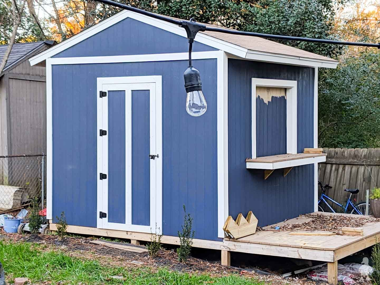 backyard pub shed painted navy