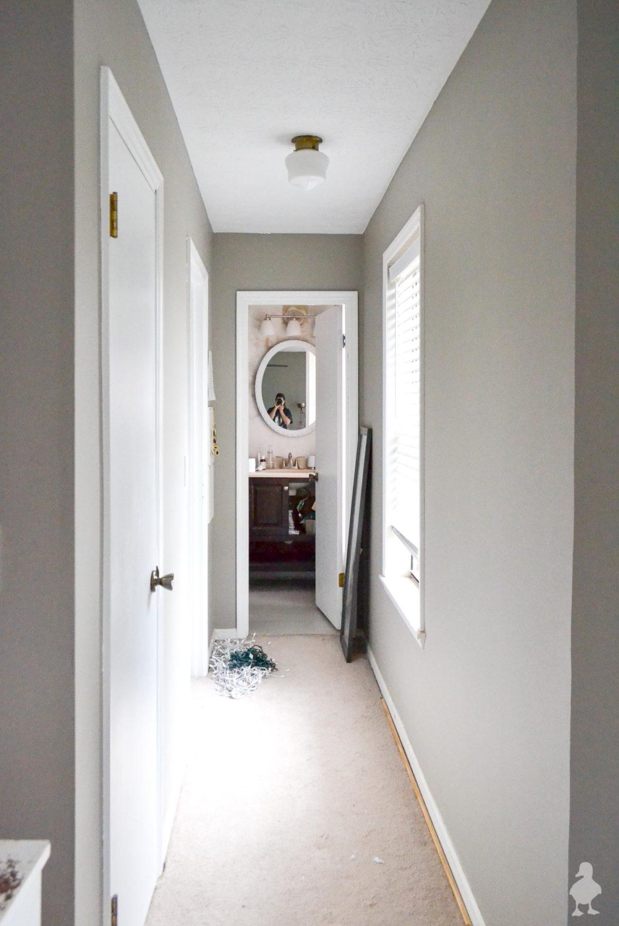 gray hallway with white trim