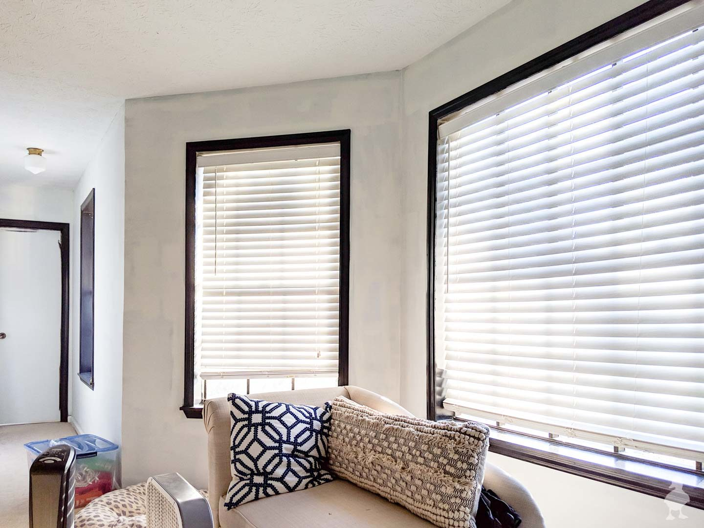 master suite bay window with white paint and tricorn black trim