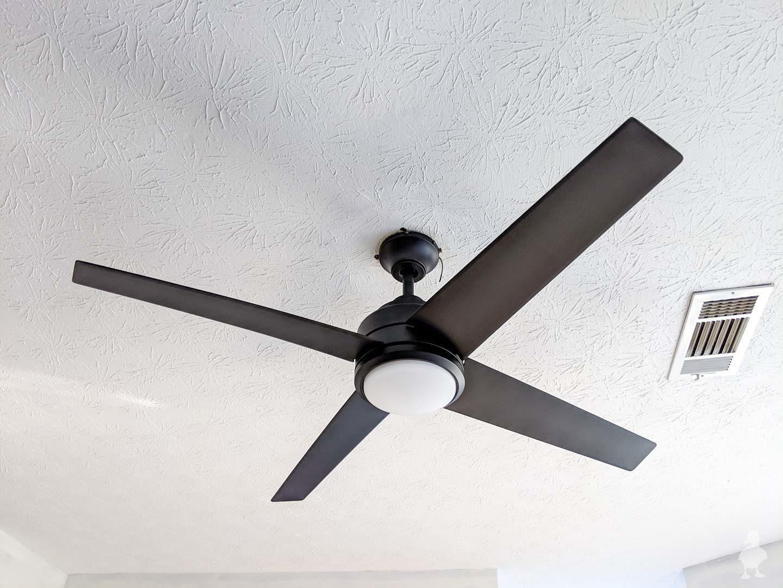 master suite progress - black ceiling fan