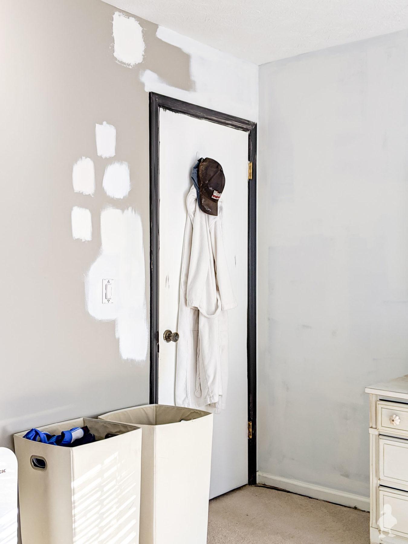 master bedroom white paint test samples