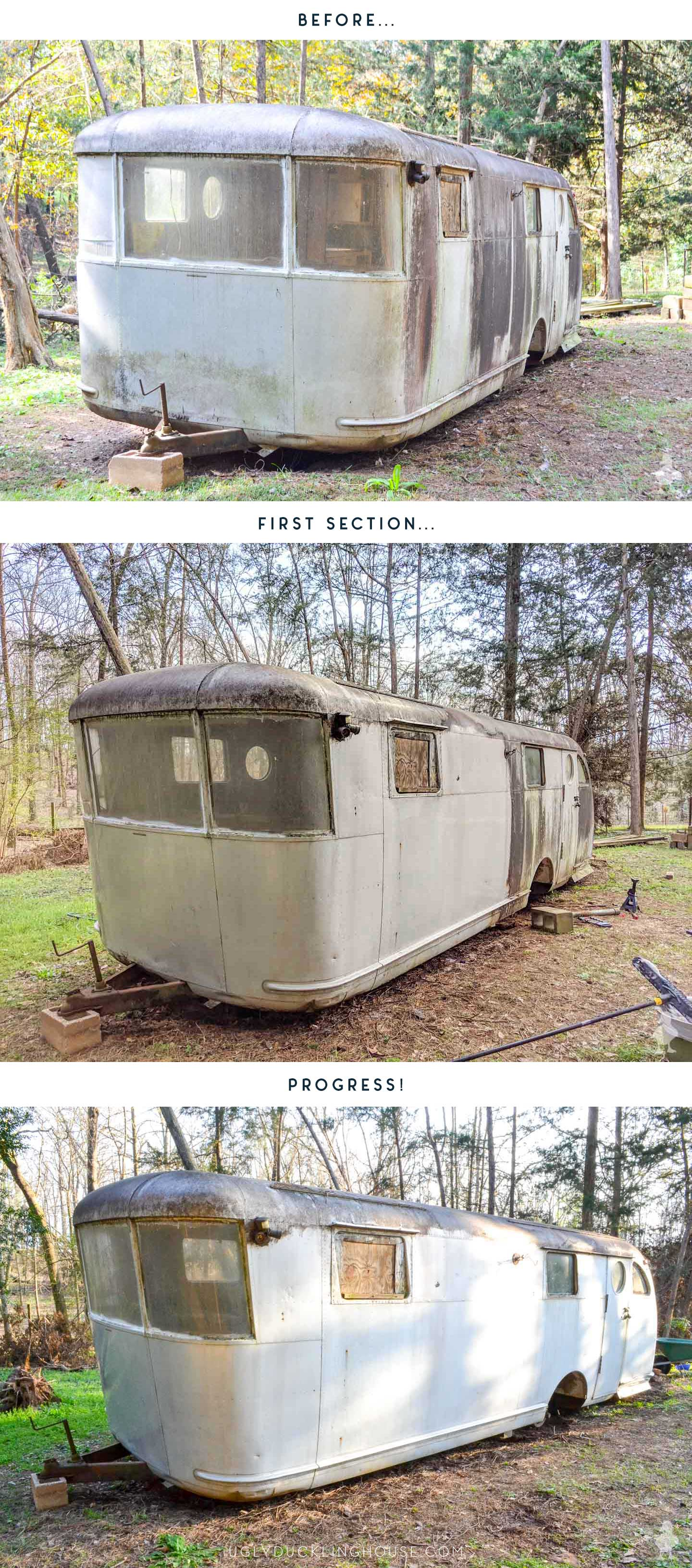 before and after of the first section of cleaning vintage camper