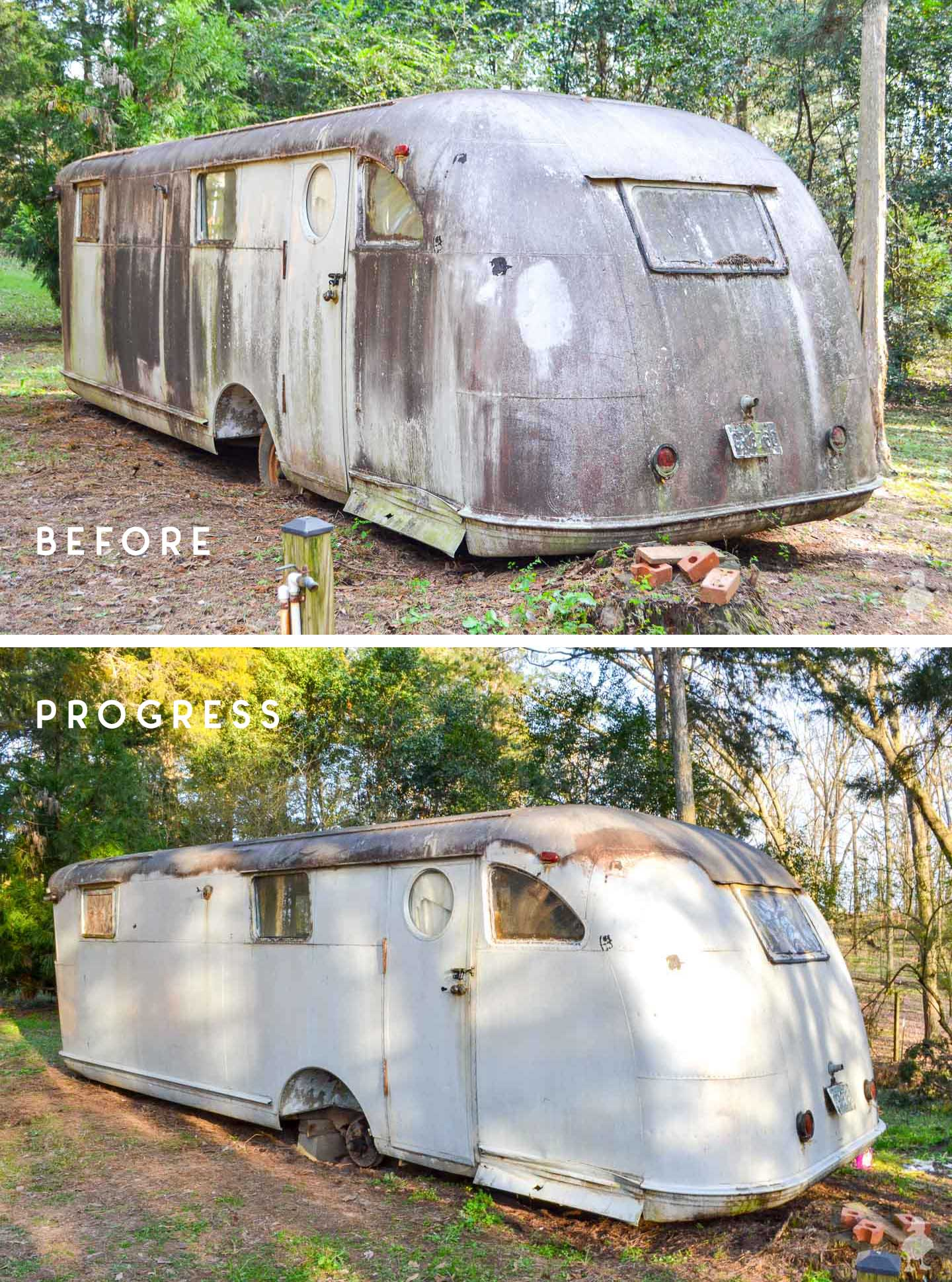 before and after of rear and side of travel trailer