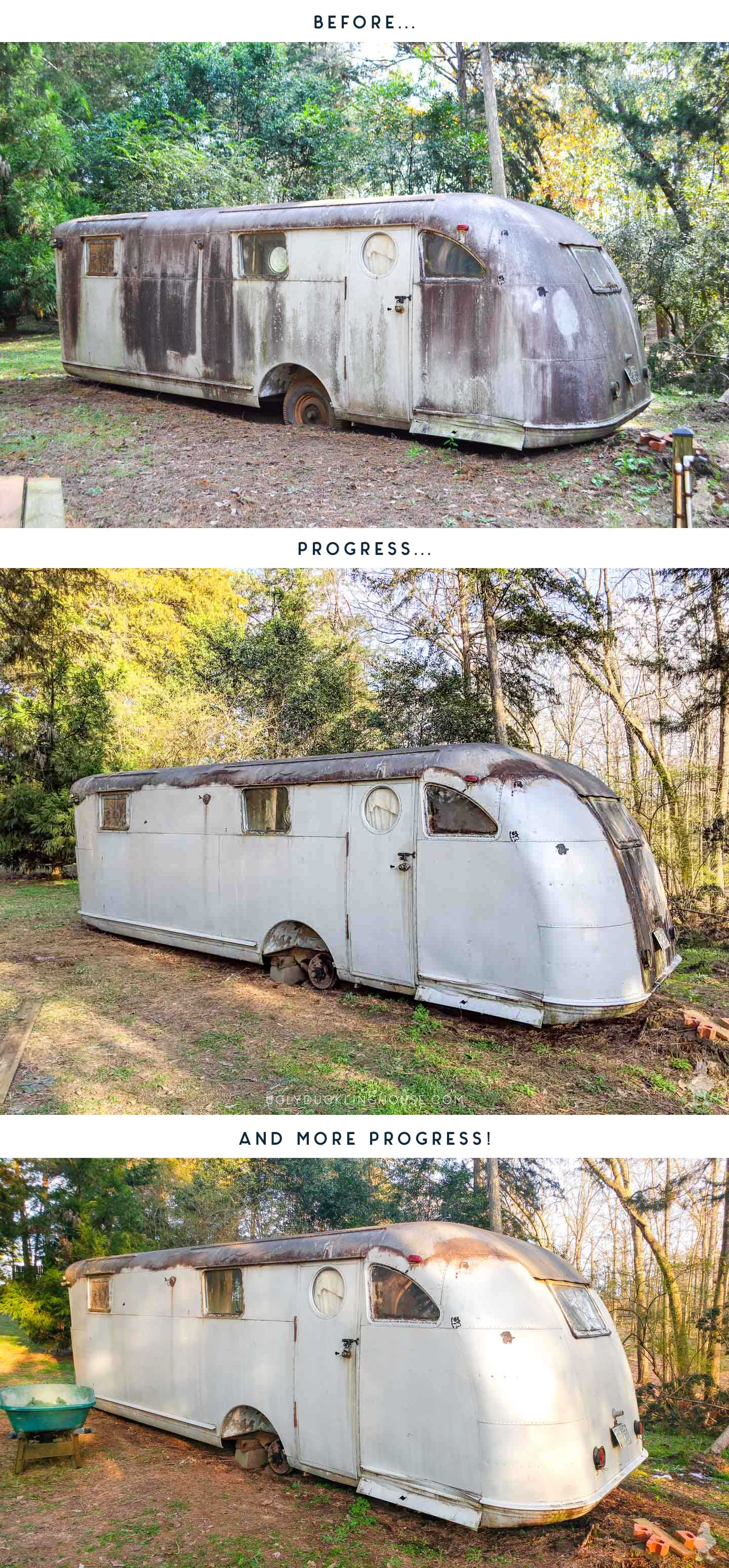 before, during and progress on the vintage travel trailer's first wash