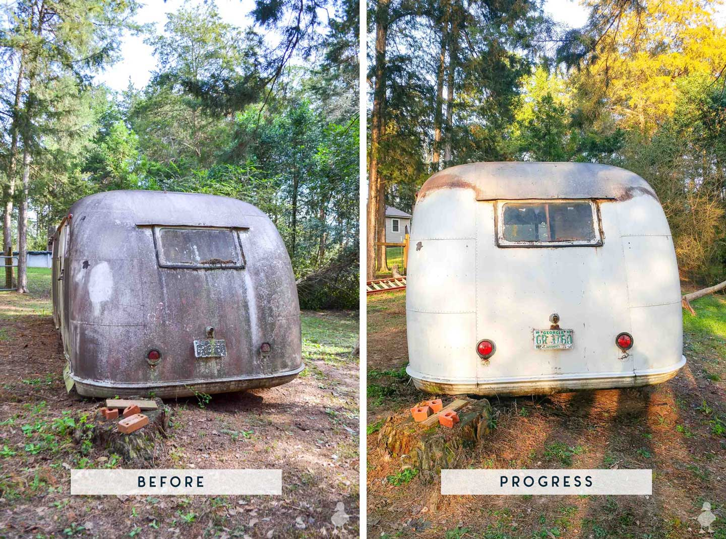 before and after of rear of vintage camper after first wash