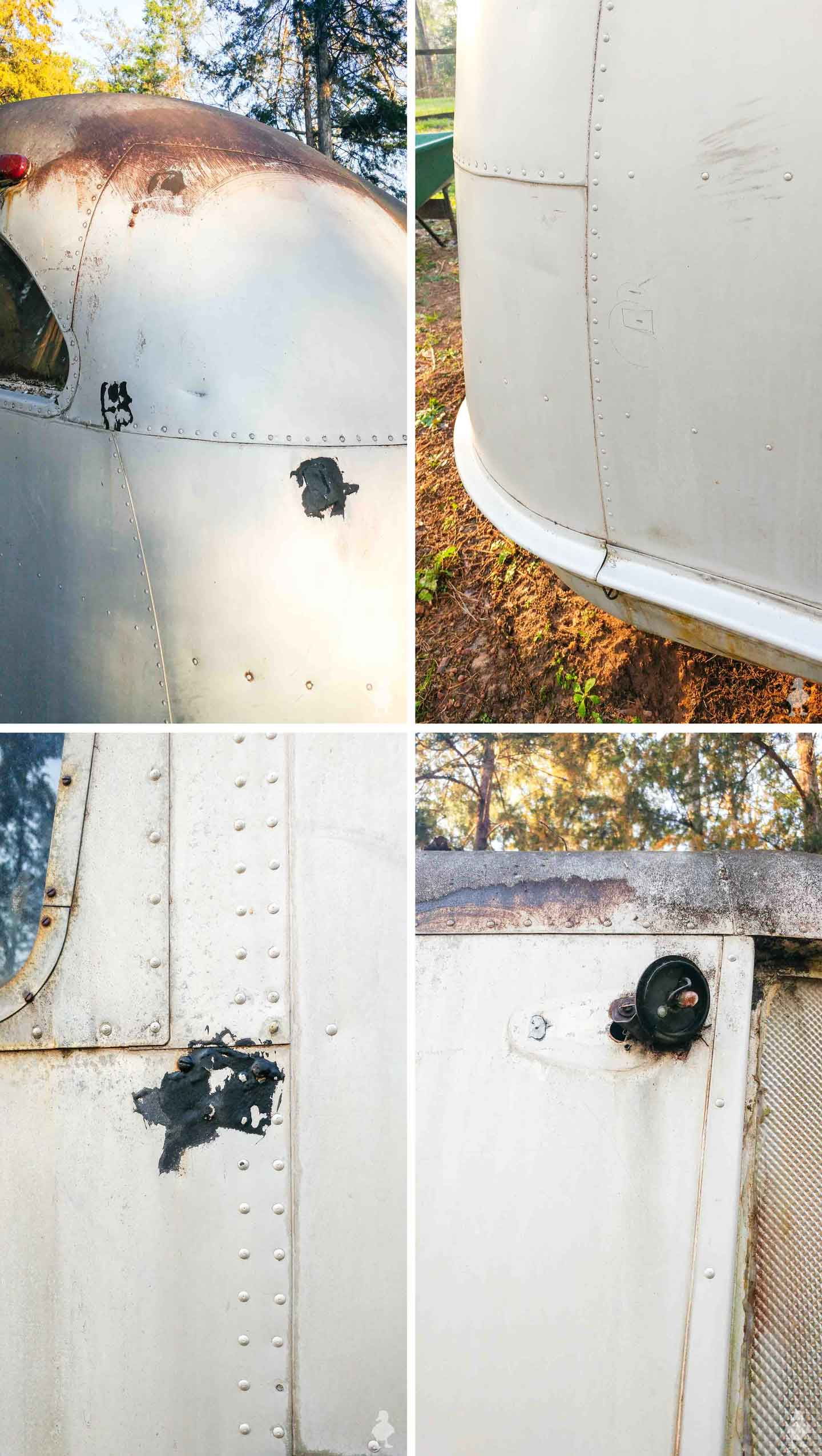 closeups of damage and repairs needed on vintage camper trailer