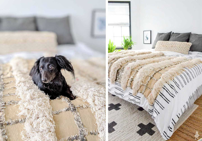cute dog on white bedding