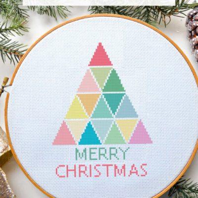 rainbow christmas tree cross stitch