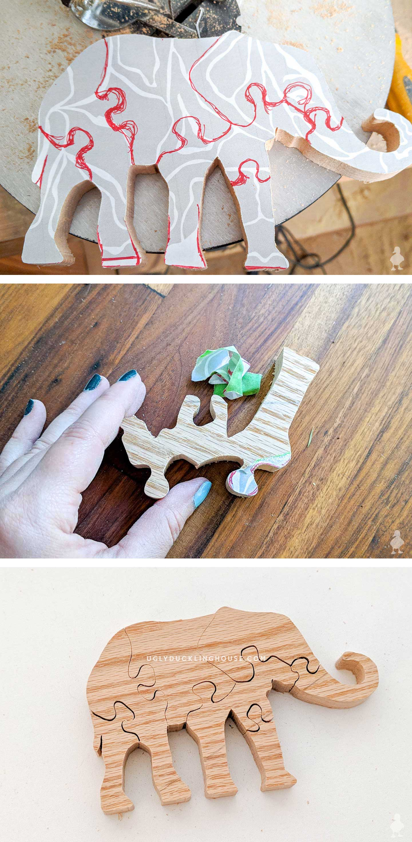 diy elephant wood puzzle from scrap oak