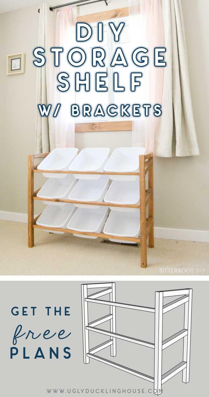 diy storage bin shelf with brackets