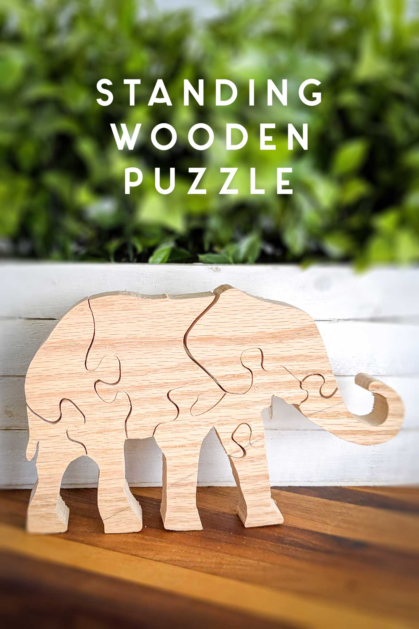 standing wooden elephant puzzle DIY