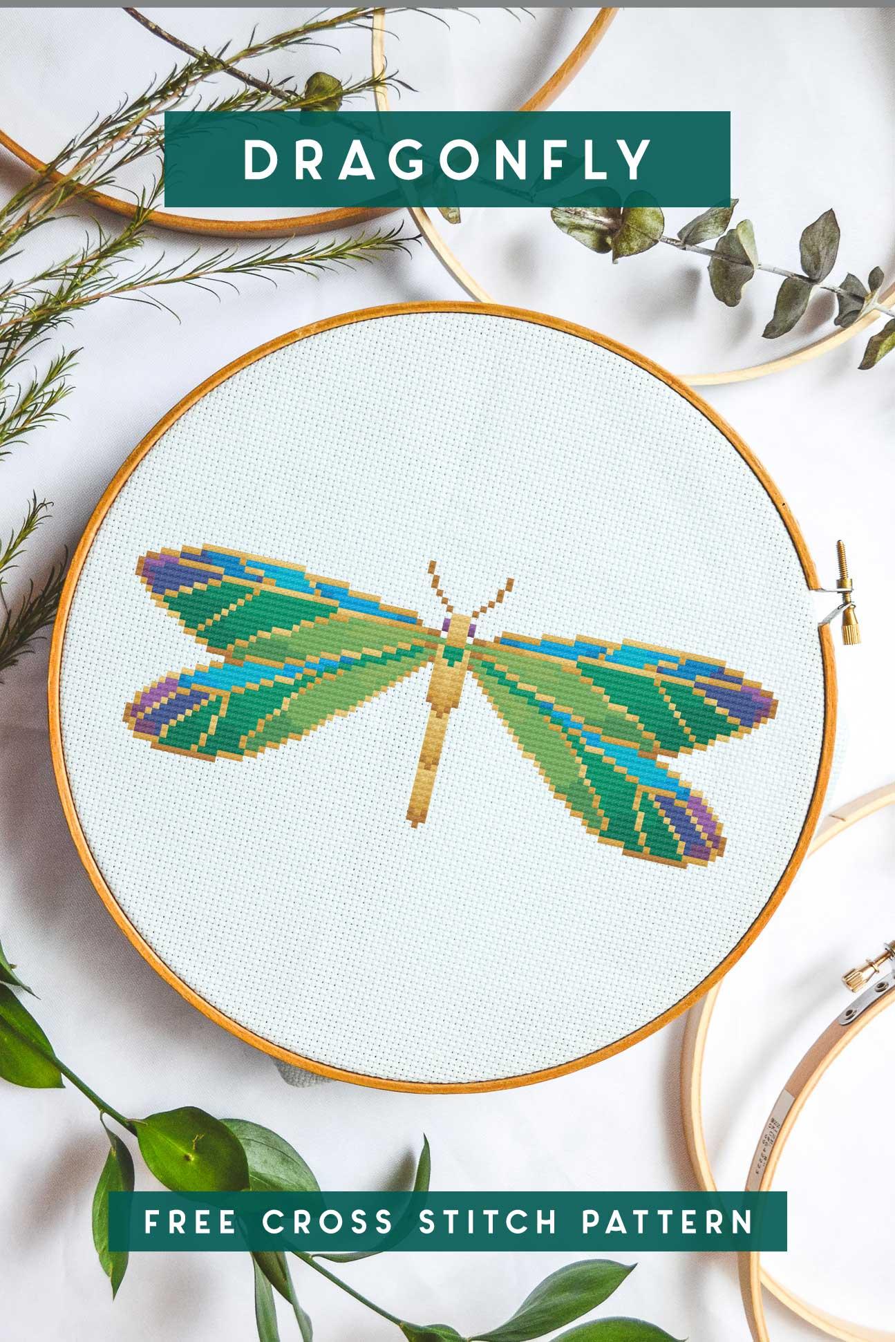 jeweled dragonfly cross stitch pattern