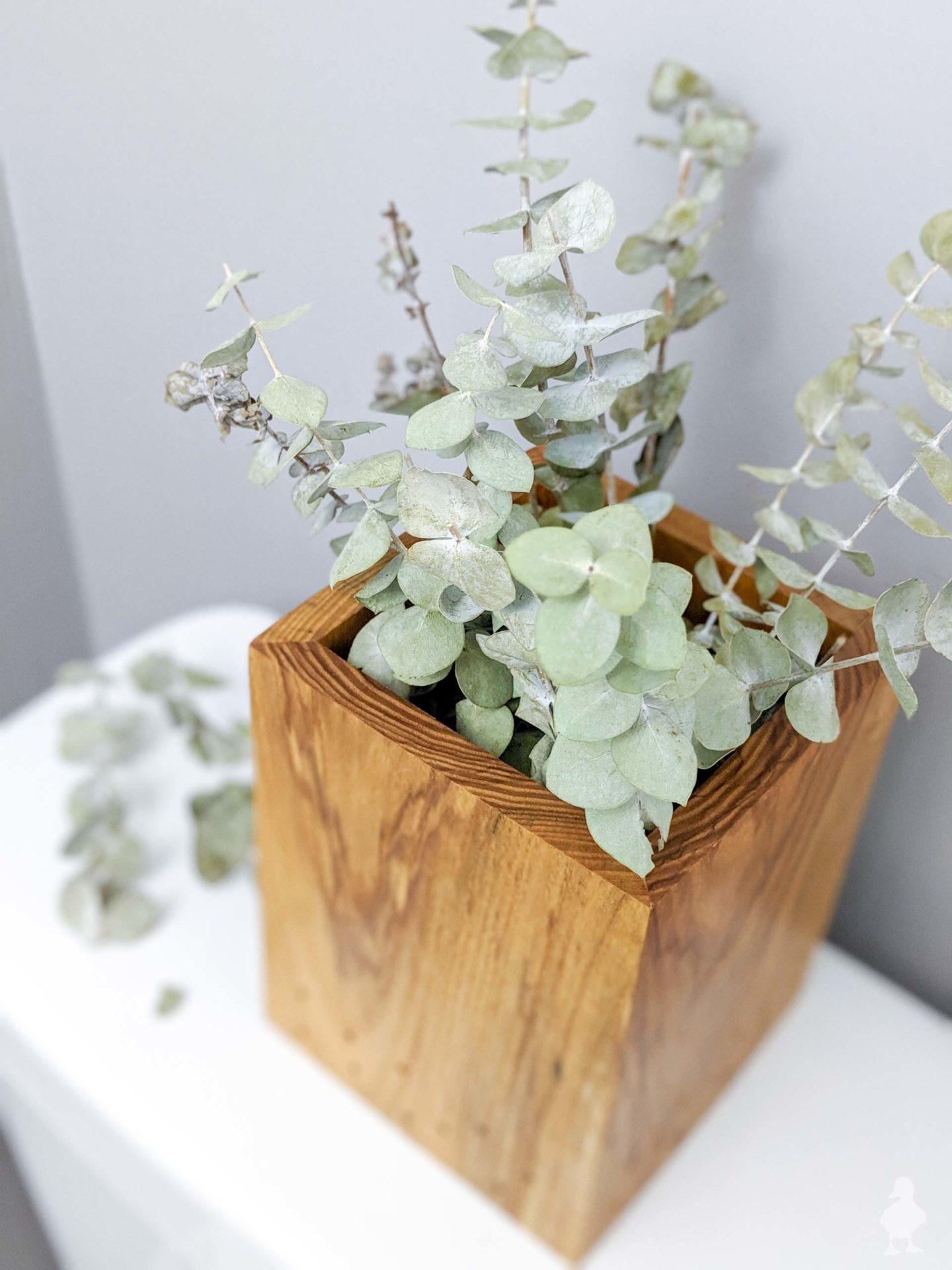diy bathroom baking soda deodorizer vase with essential oil and eucalyptus