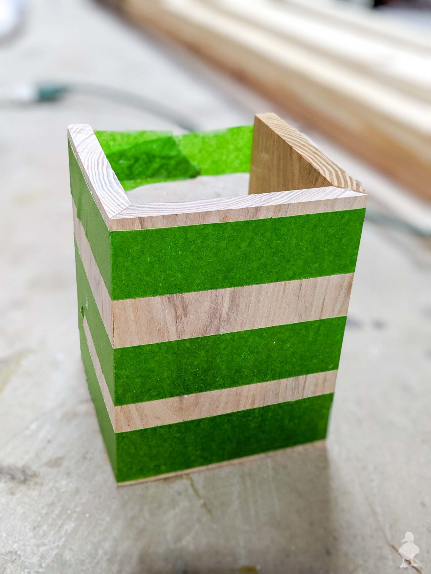 glue and tape first 3 sides together