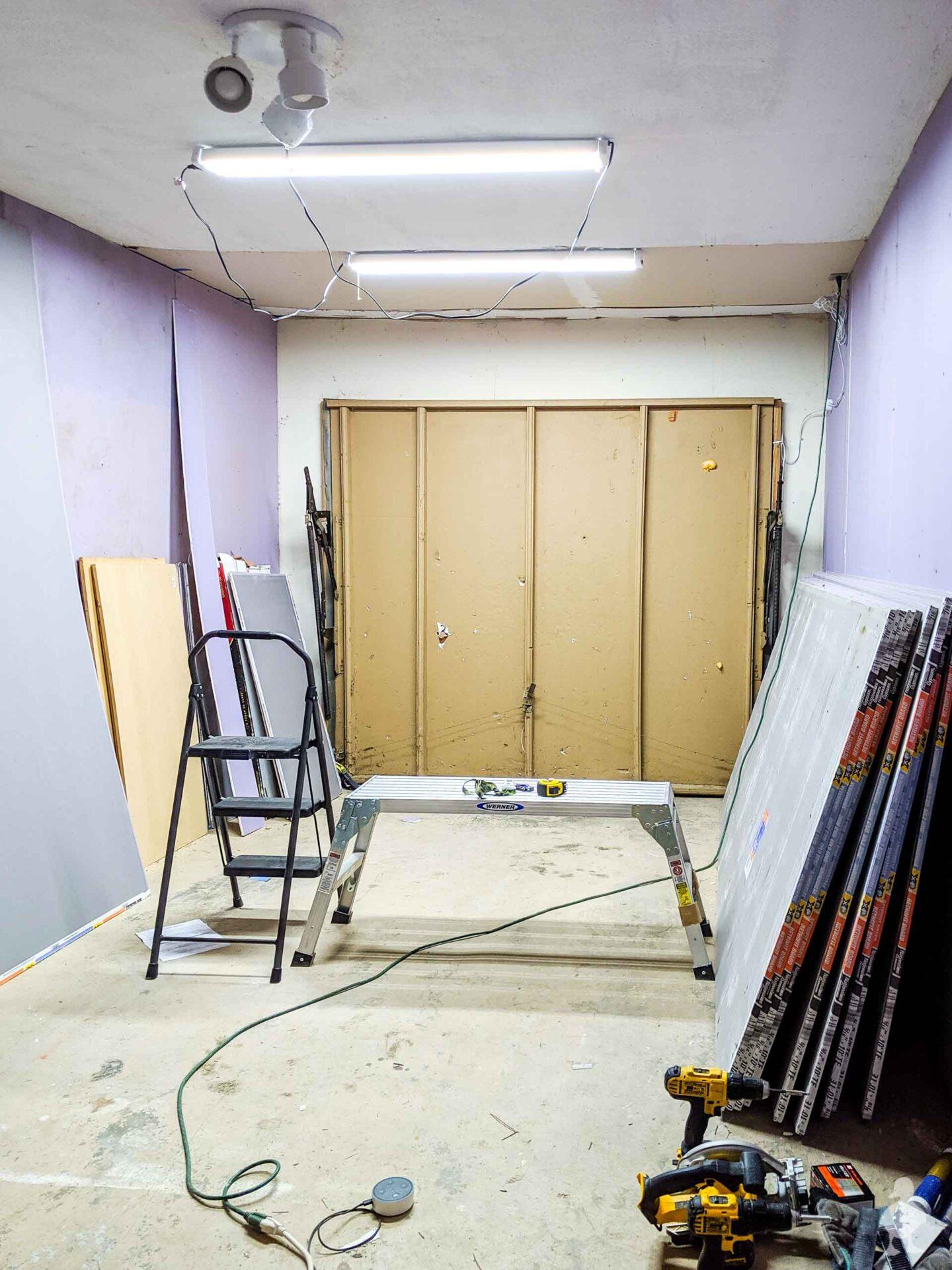 garage workshop makeover - progress with new drywall