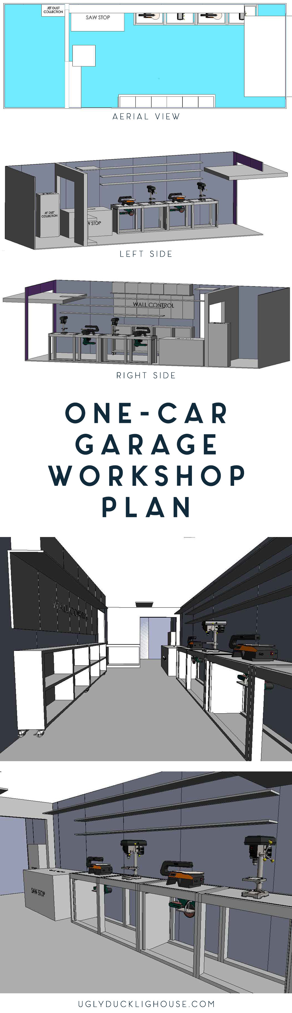 one car garage workshop plan