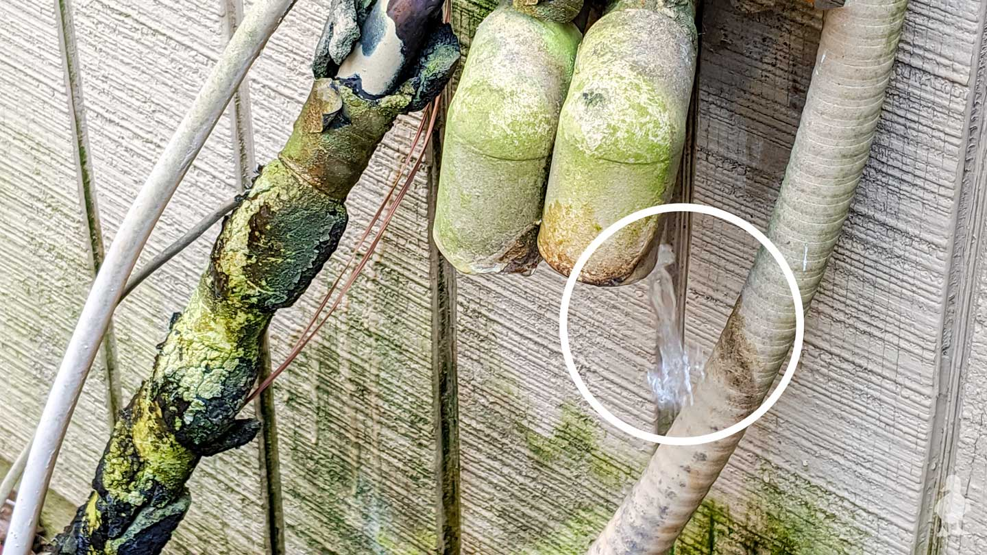 water dripping out of condenser line