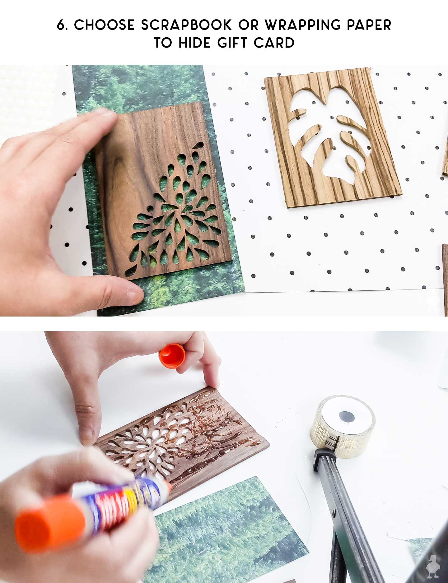 select scrapbook paper and attach to gift card or inside of gift card holder
