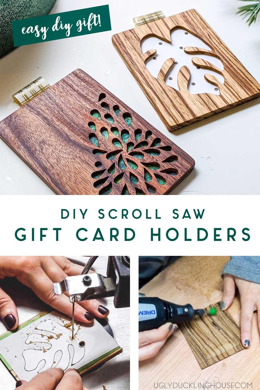 diy gift card holders - scrolled with custom wood designs