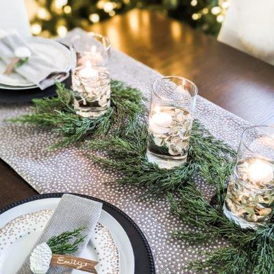easy christmas dinner table setting for 2