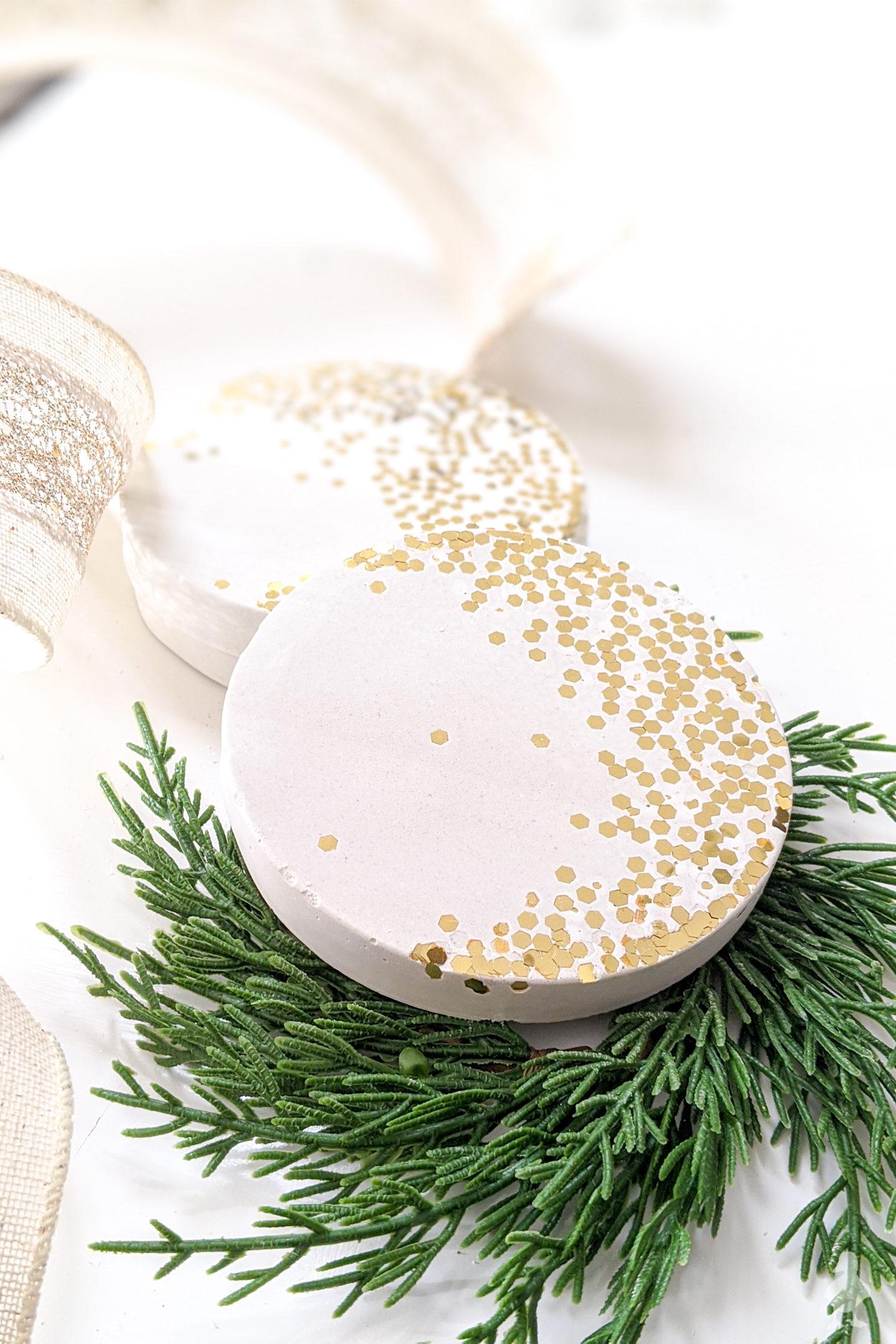 Gold confetti and white concrete coasters