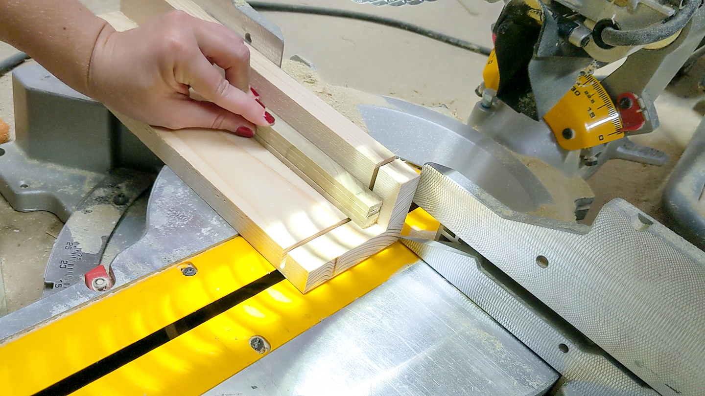 use a small piece of scrap wood to help stabilize small cuts on the miter saw