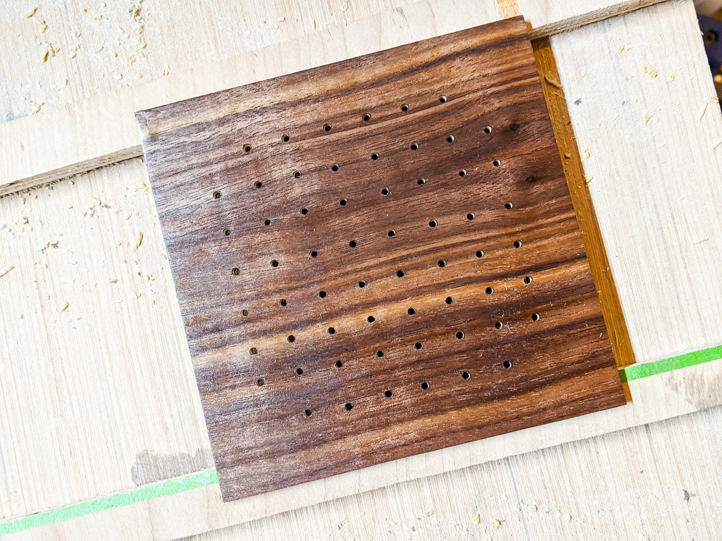 oiling the front of the walnut plywood
