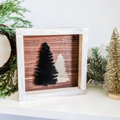 shelfie with tree cutout art