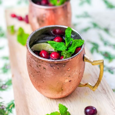spiced and sparkling cranberry mule