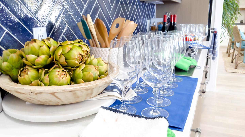 kitchen closeup navy blue backsplash coastal design
