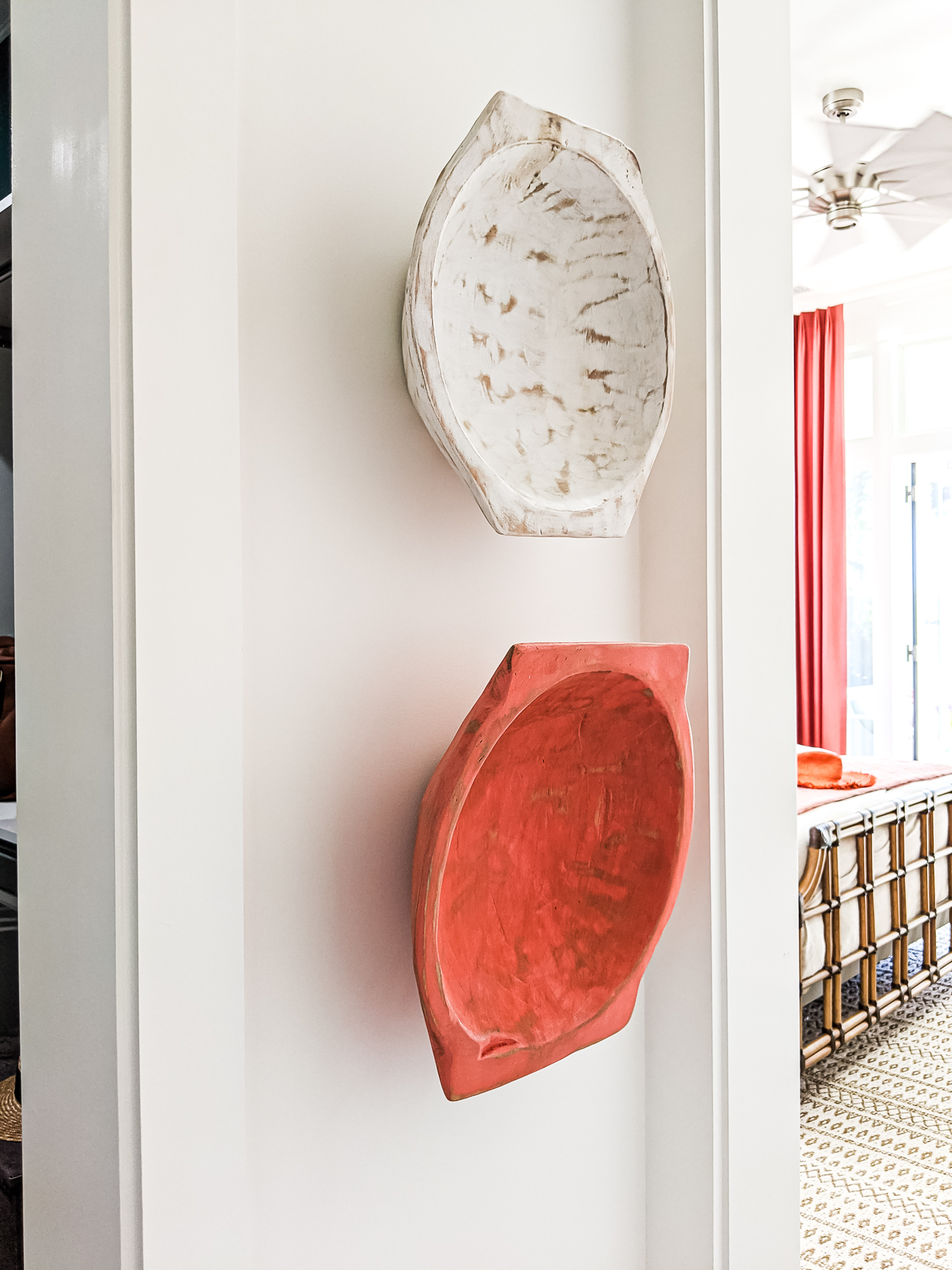 carved bowls as wall art