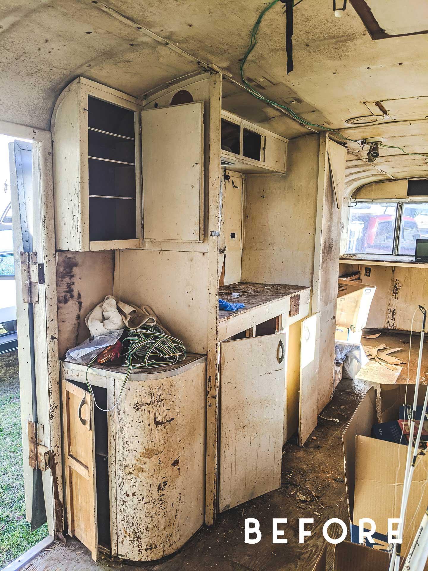 left side of vintage camper before demo