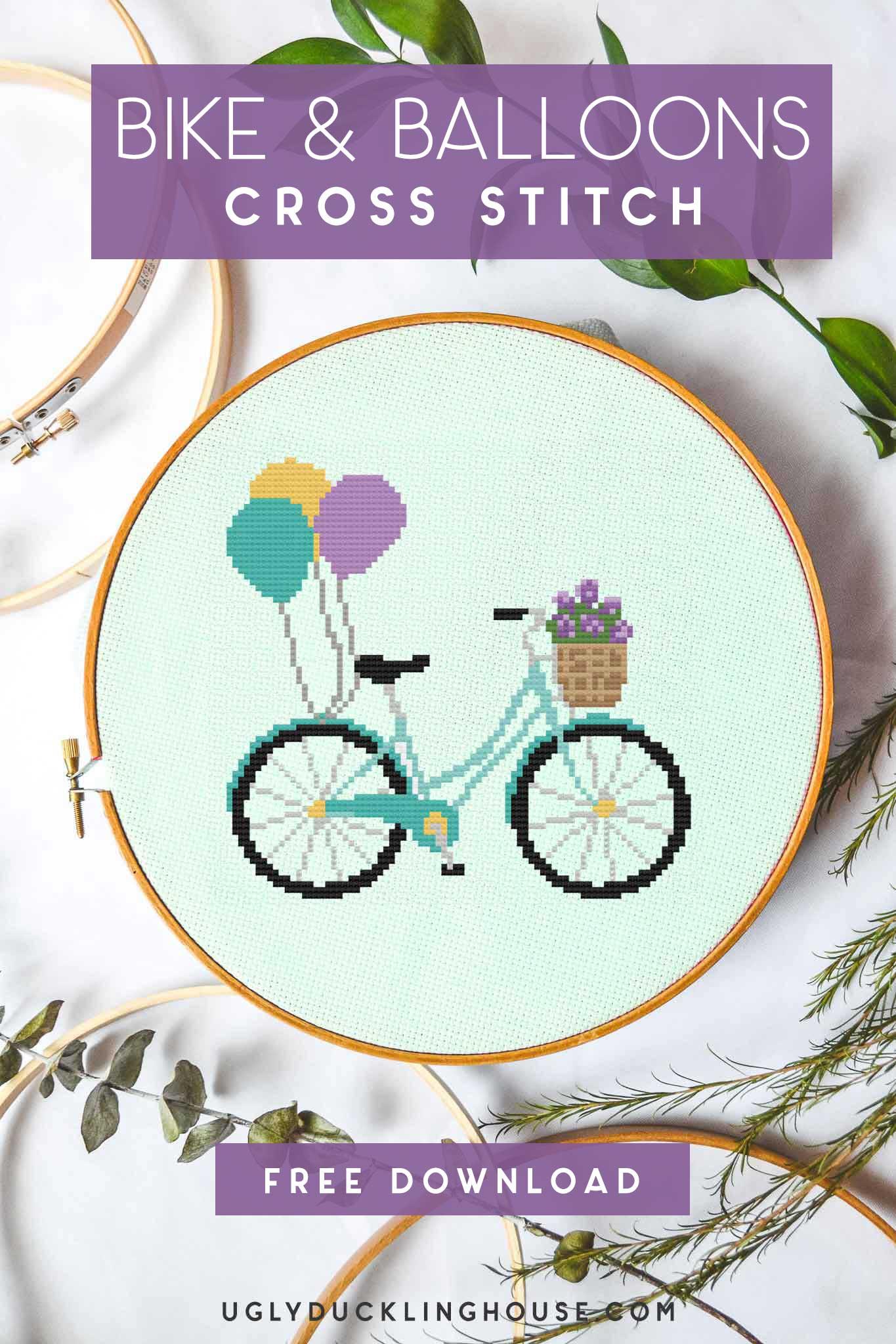 bike and balloons free cross stitch pattern