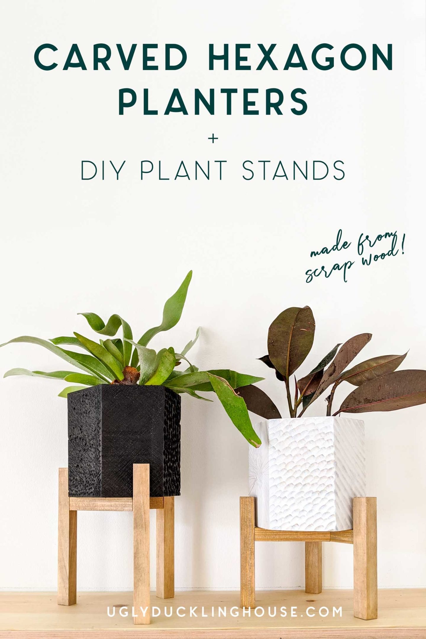 diy carved hex planters with plant stands from scrap wood - build at home challenge
