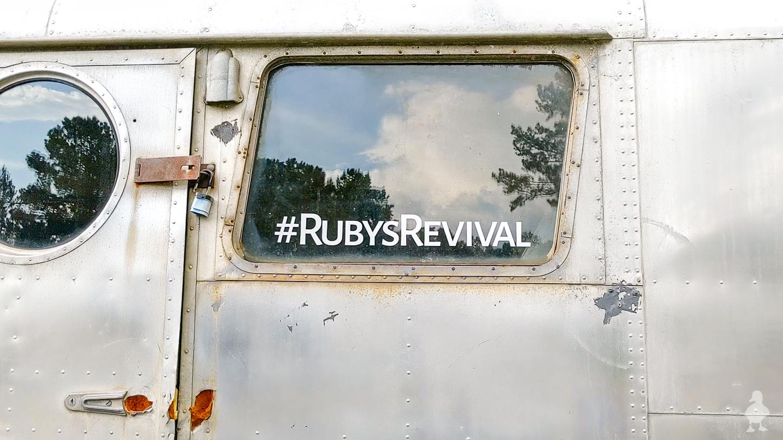 window decals applied to vintage camper