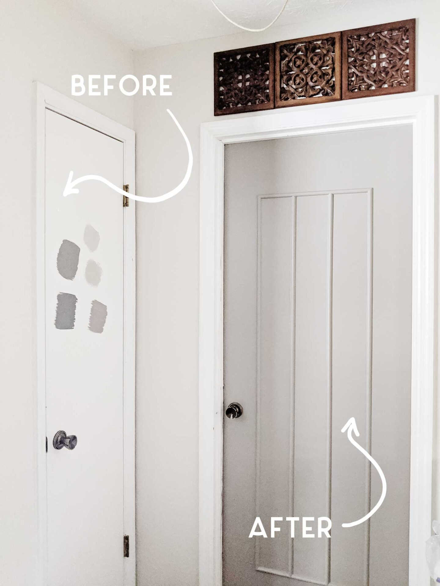 before and after adding door trim and paint - tutorial next week