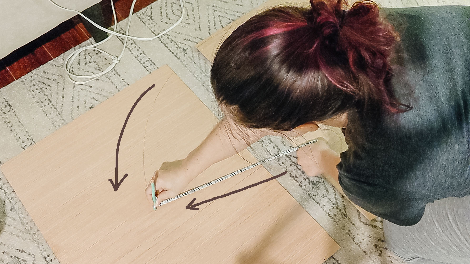 how to draw out an arch shape on plywood with string