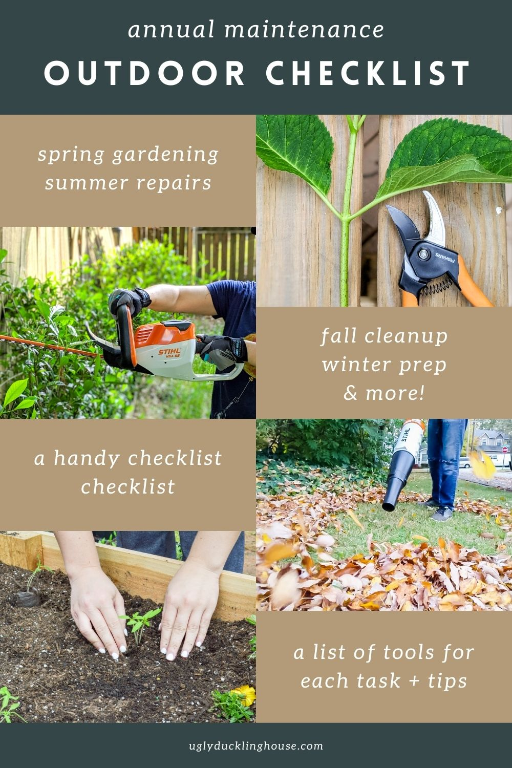 annual outdoor maintenance checklist - list of tools and tips