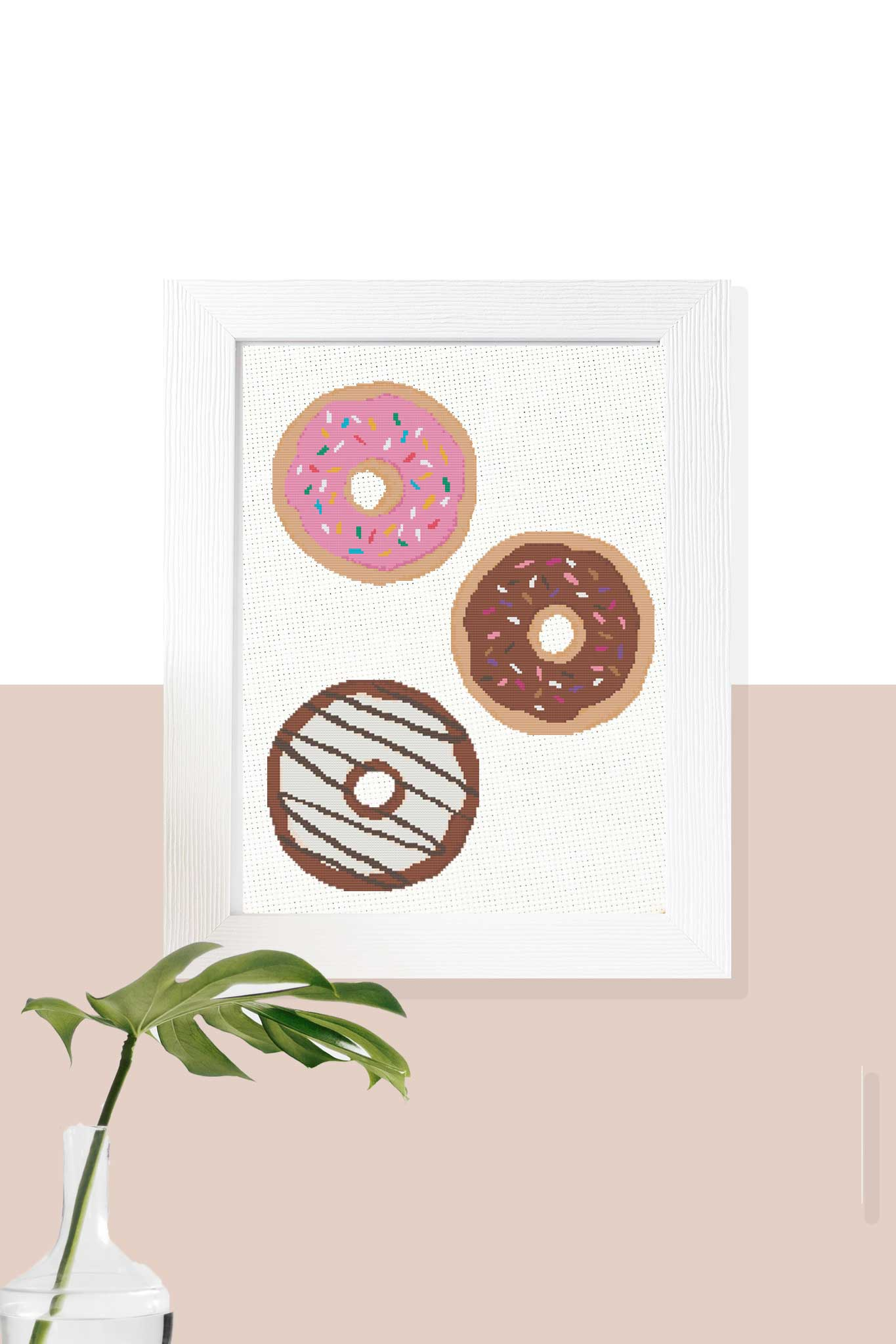 pink sprinkle, chocolate sprinkle, and chocolate stripe donut cross stitch patterns
